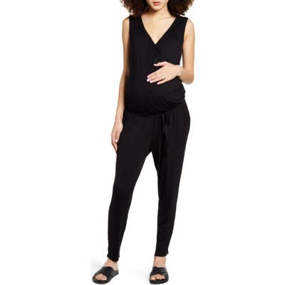 Fourteenth Place Belted Jersey Maternity Jumpsuit, Black