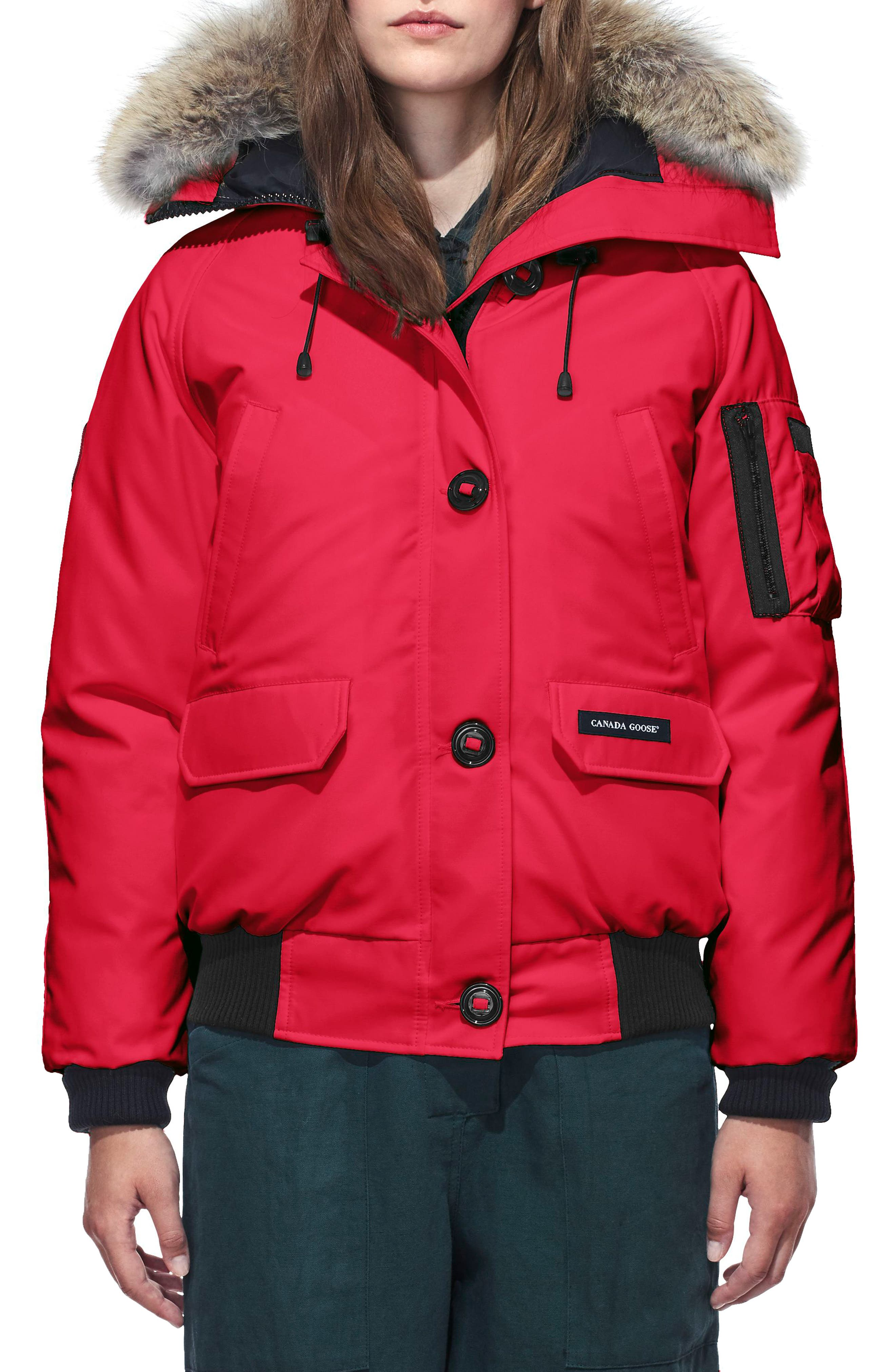 Canada Goose Chilliwack Hooded Down Bomber Jacket With Genuine Coyote Fur Trim, (0) - Red
