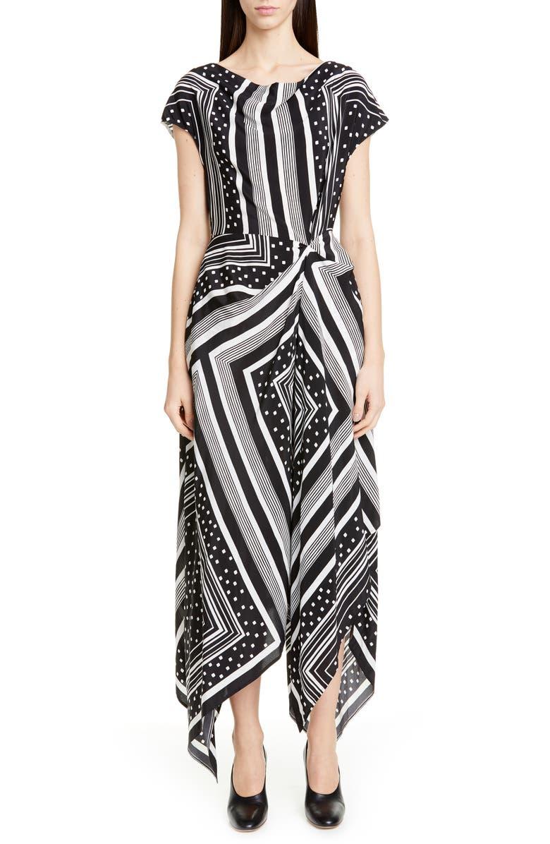 CO Cowl Neck Print Handkerchief Hem Silk Dress, Main, color, GEOMETRIC
