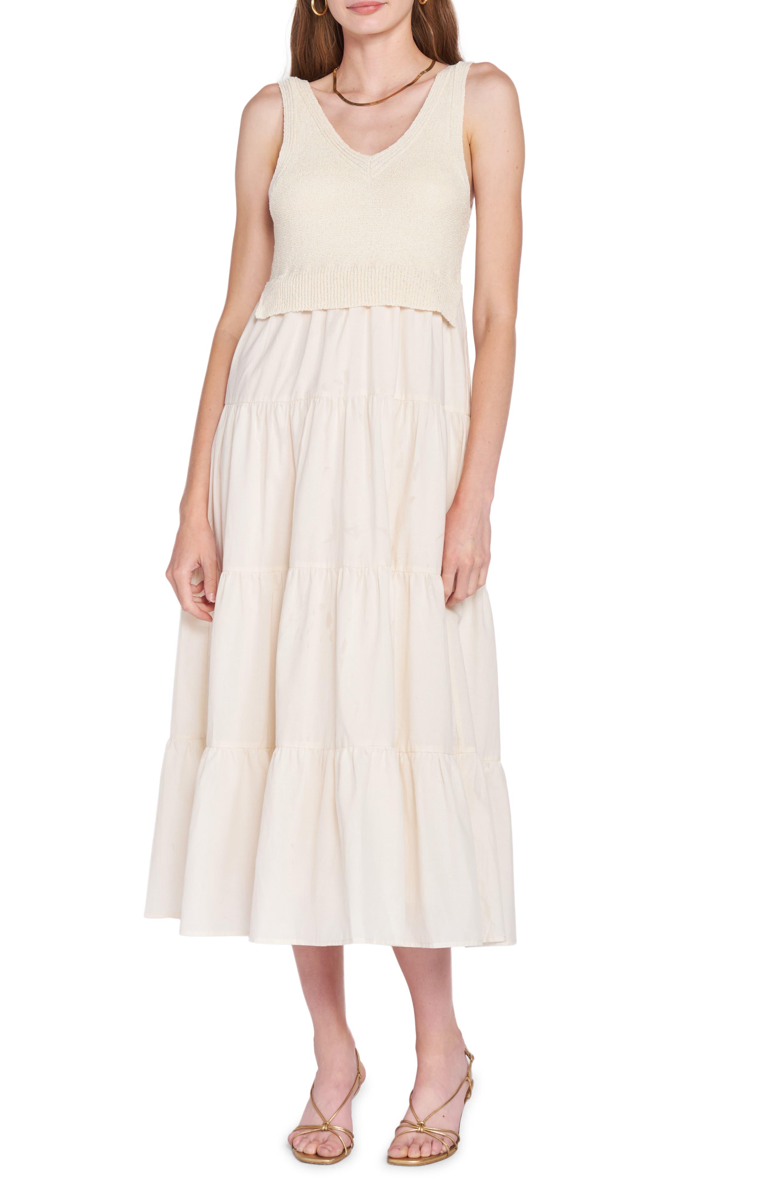 Mixed Media Tiered Midi Dress
