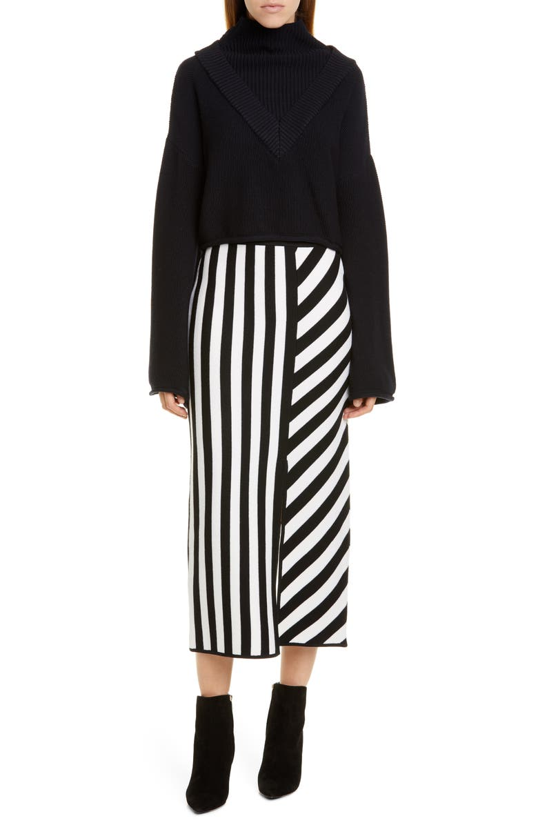 VICTOR GLEMAUD Stripe Merino Wool Midi Sweater Skirt, Main, color, BLACK AND WHITE