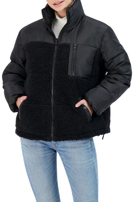 Image of Sebby Faux Shearling Trimmed Puffer Jacket