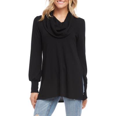 Karen Kane Cowl Neck Side Slit Turtleneck Sweater, Black