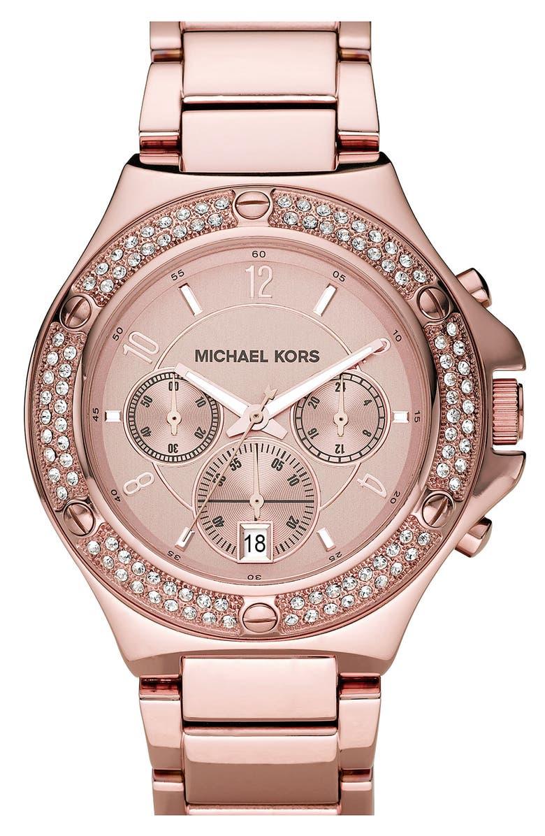 MICHAEL MICHAEL KORS Michael Kors 'Rock Top' Rose Gold Bracelet Watch, Main, color, 711
