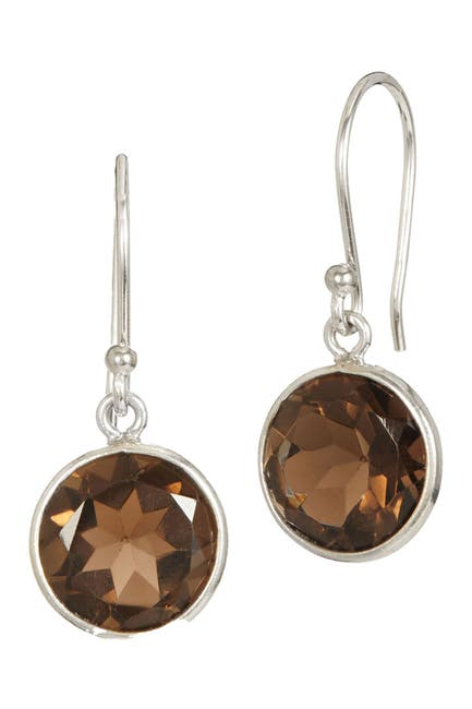 Image of Savvy Cie Sterling Silver Smokey Quartz Drop Earrings
