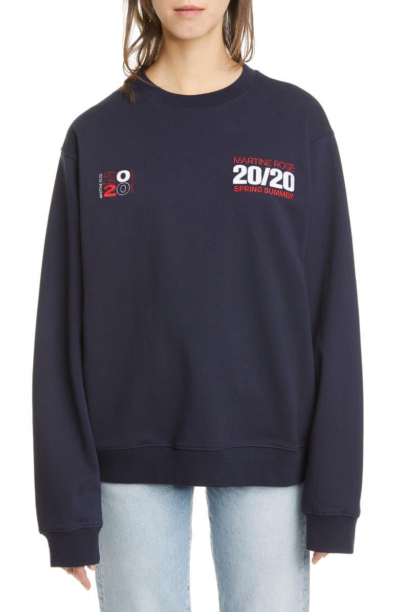 MARTINE ROSE Classic 2020 Cotton Sweatshirt, Main, color, NAVY