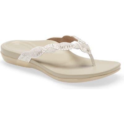 Aetrex Brandy Beaded Flip Flop - White