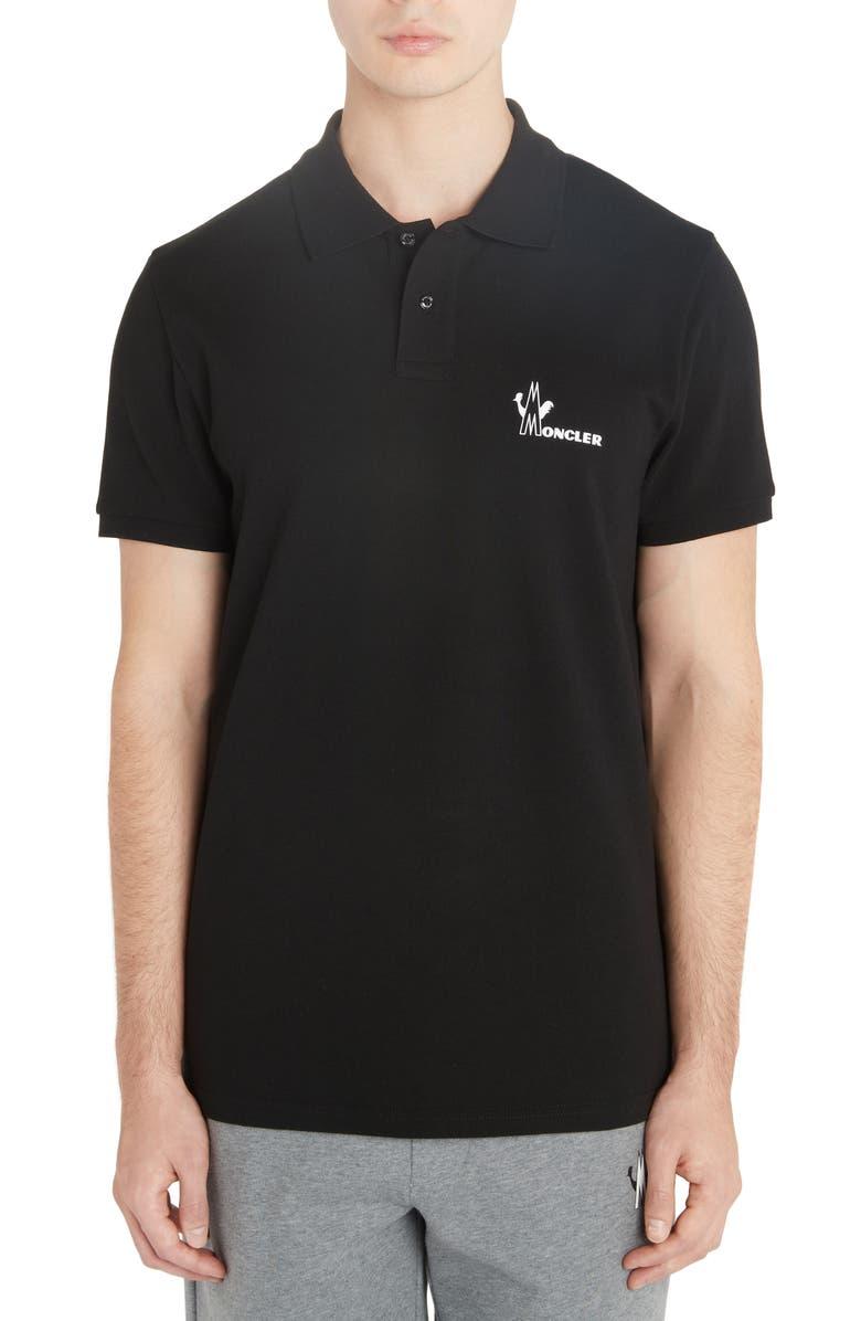 MONCLER Logo Graphic Piqué Polo, Main, color, BLACK
