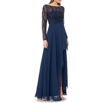 Carmen Marc Valvo Infusion Sequin Lace & Chiffon Long Sleeve Gown, Blue