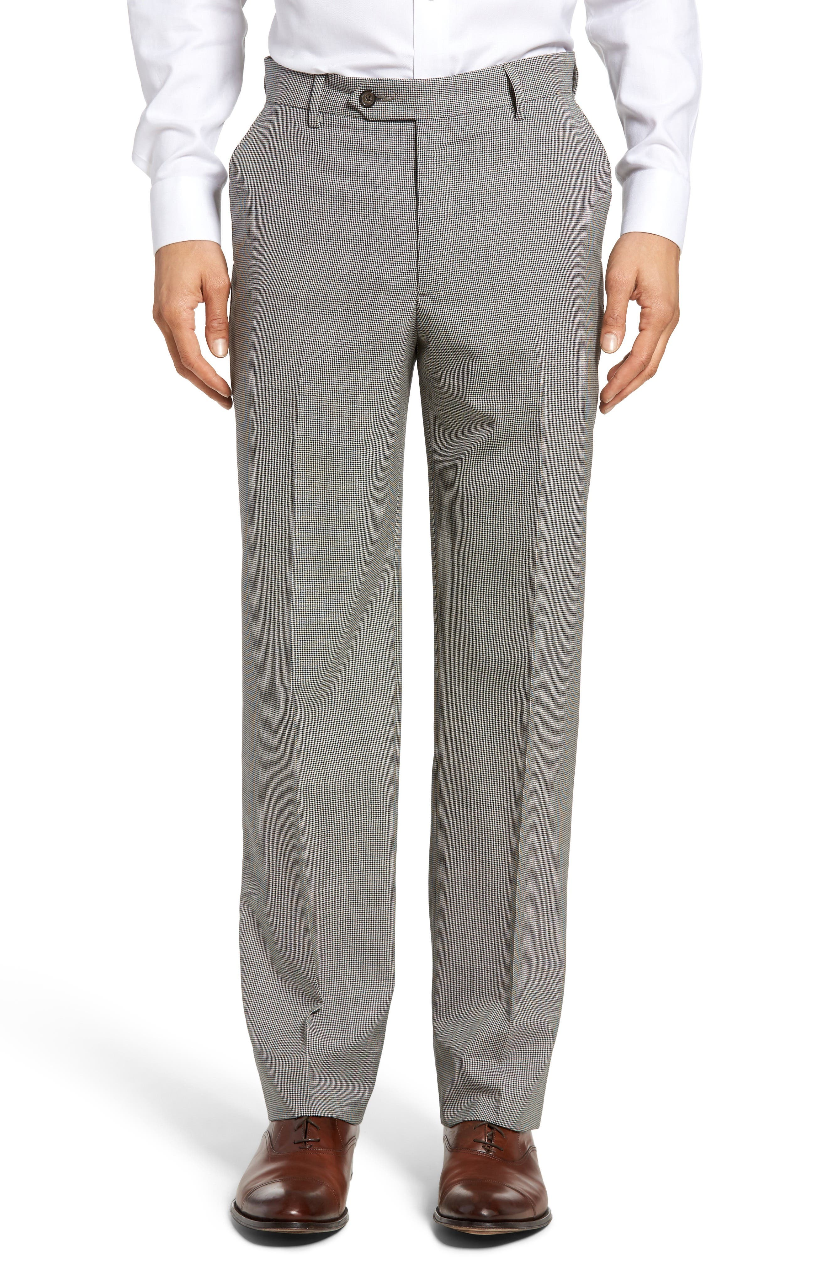 Flat Front Houndstooth Wool Trousers