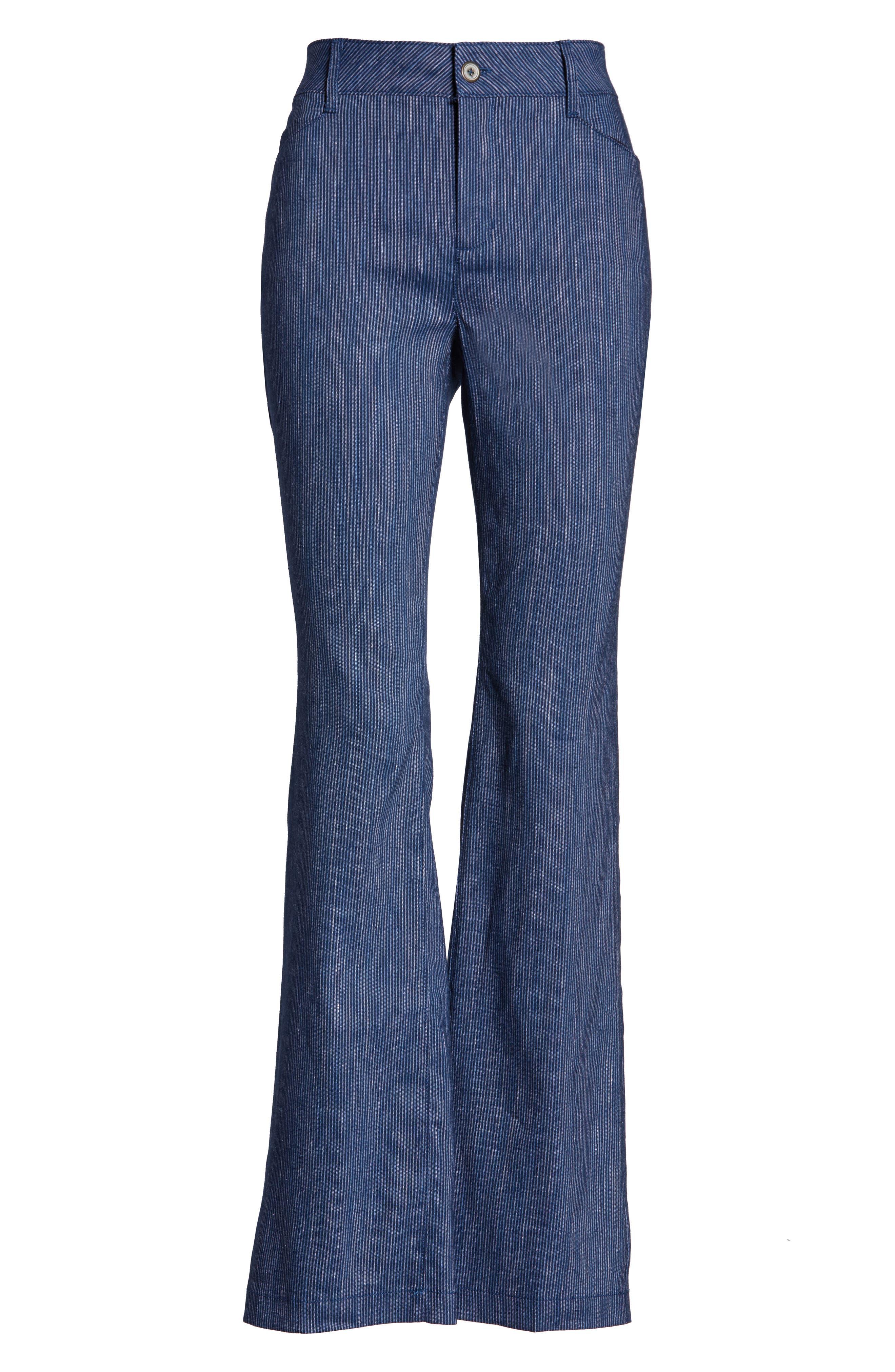 ,                             The Trouser Linen Blend Pants,                             Alternate thumbnail 5, color,                             AGUA STRIPE