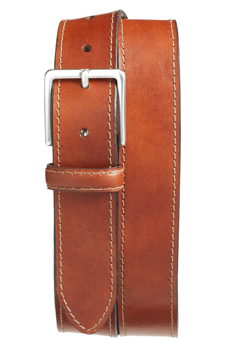 BOSCA The Franco Leather Belt, Main, color, AMBER
