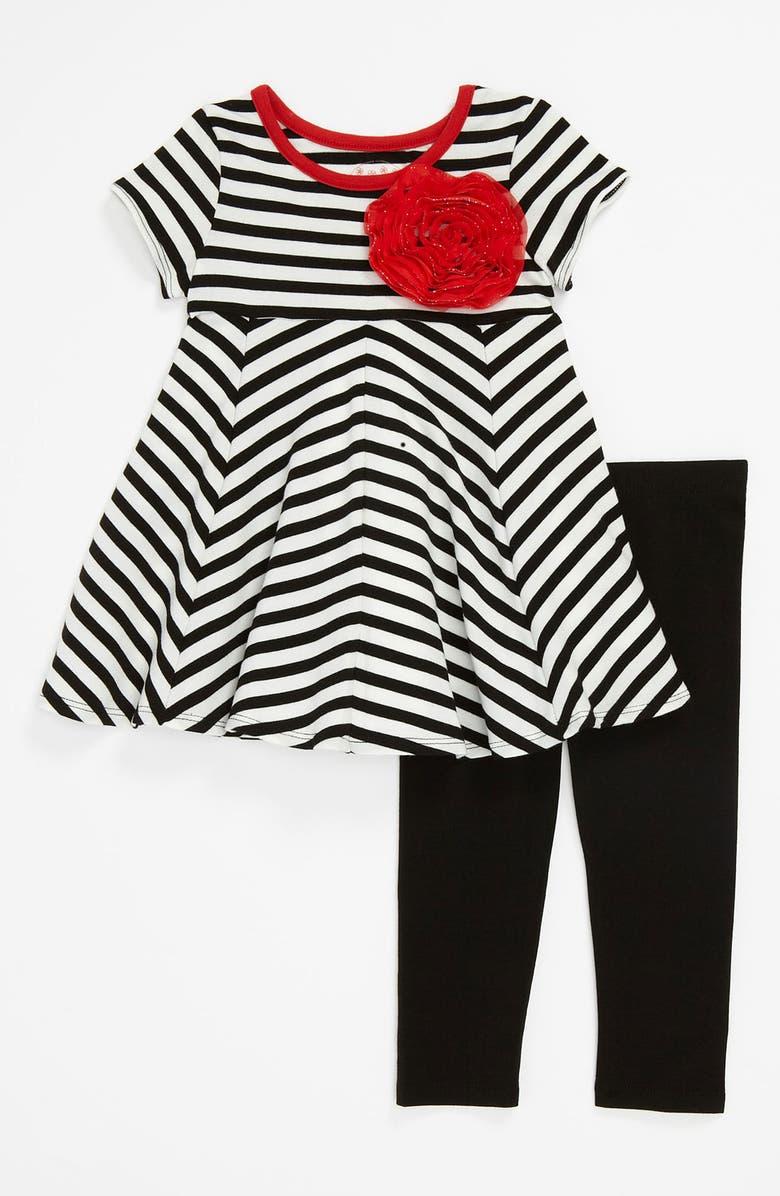 PIPPA & JULIE Stripe Dress & Leggings, Main, color, 005