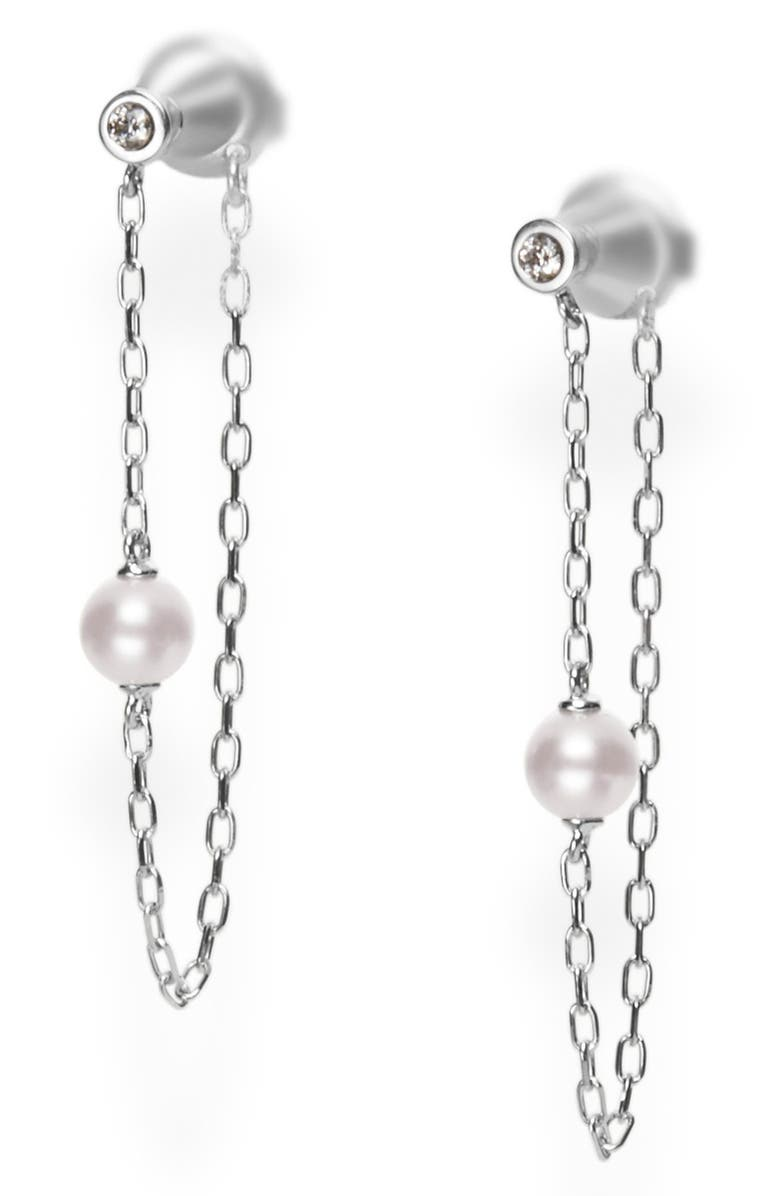 MIKIMOTO Akoya Pearl & Diamond Chain Hoop Earrings, Main, color, WHITE GOLD