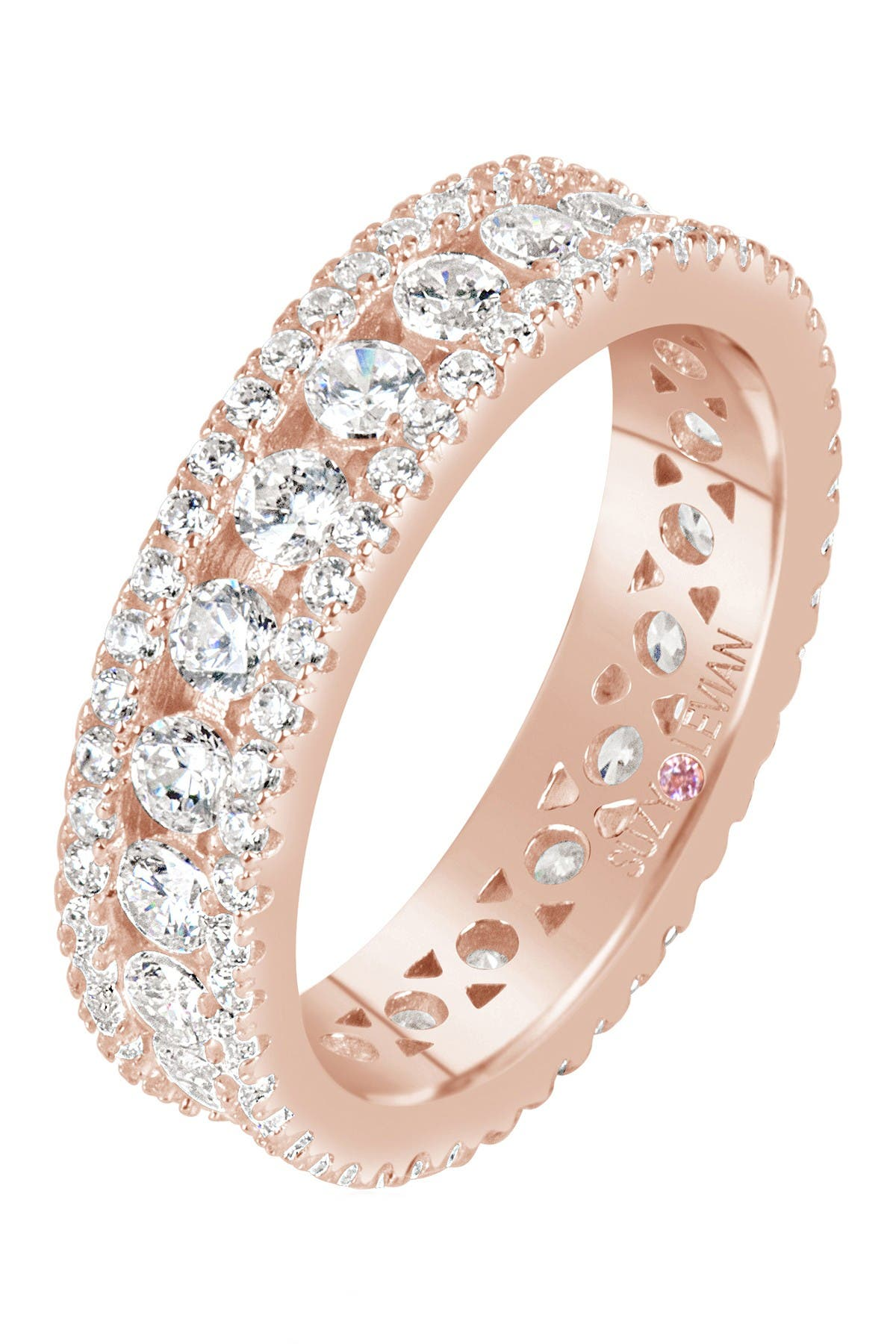 Image of Suzy Levian 14K Rose Gold Plated Sterling Silver CZ Three Row Modern Eternity Band Ring