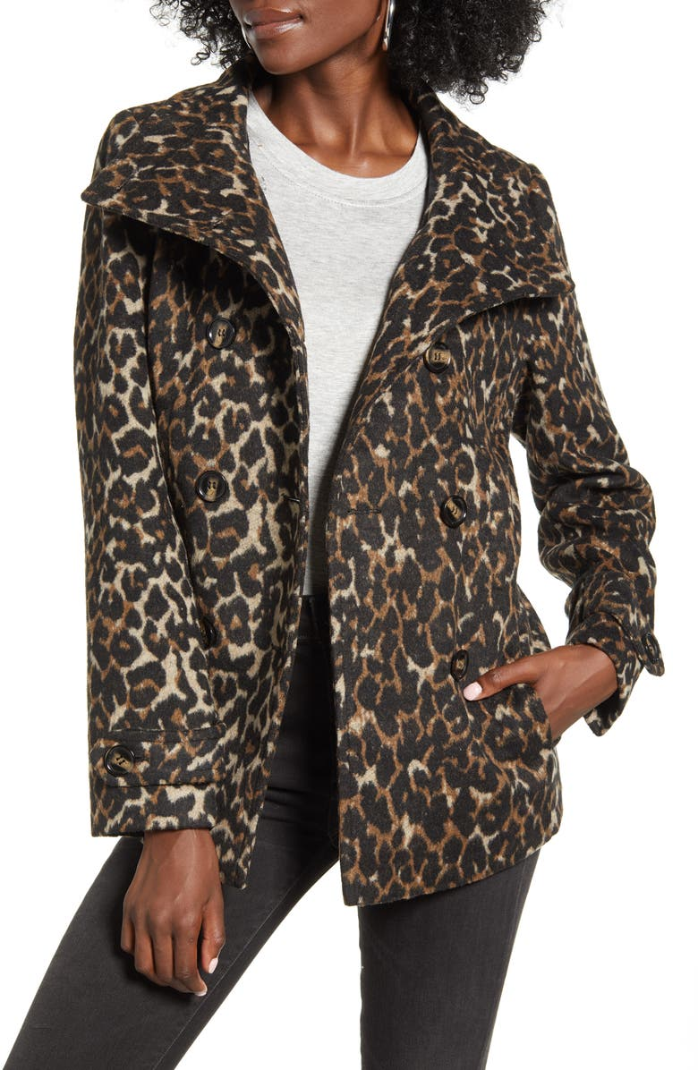 THREAD & SUPPLY Double Breasted Peacoat, Main, color, LEOPARD