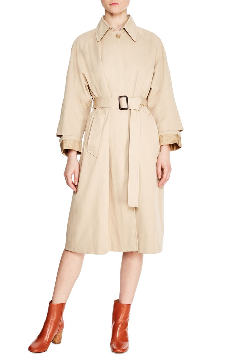 SANDRO Long Trench Coat, Main, color, 250