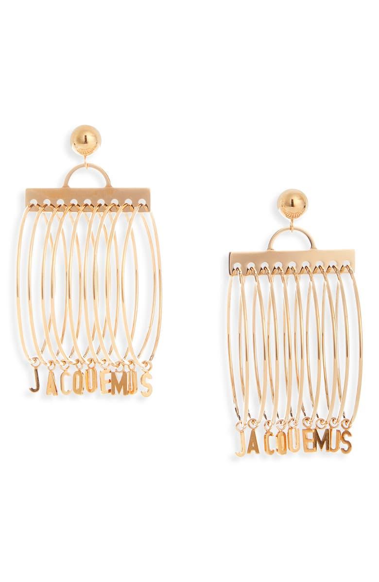 JACQUEMUS Les Anneaux Logo Charm Earrings, Main, color, 710