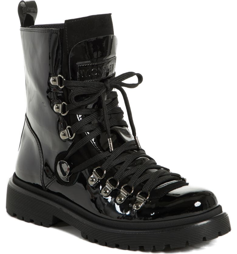 MONCLER Berenice Stivale Lace-Up Boot, Main, color, BLACK PATENT