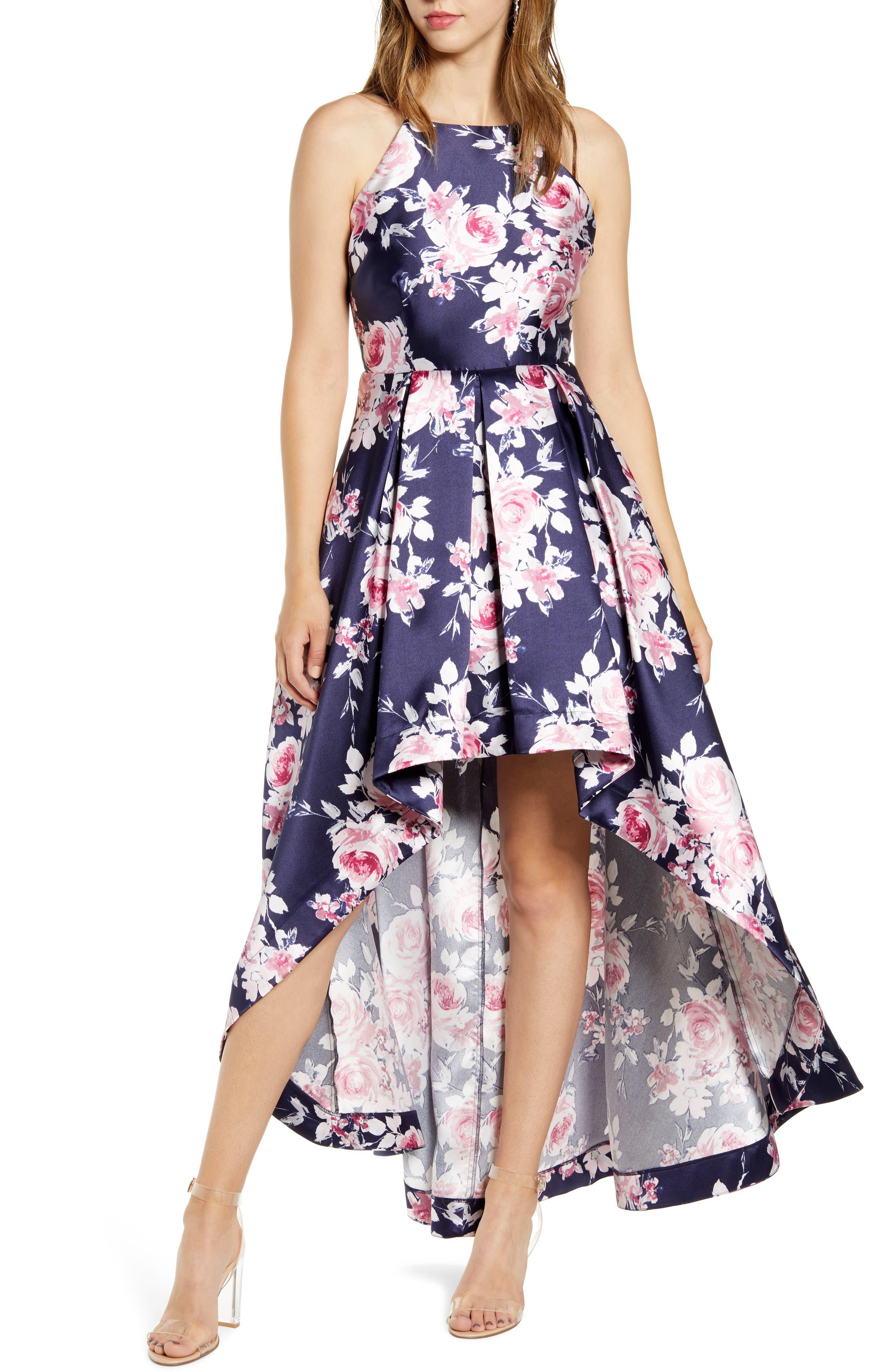 Speechless High/low Floral Print Halter Dress, Blue