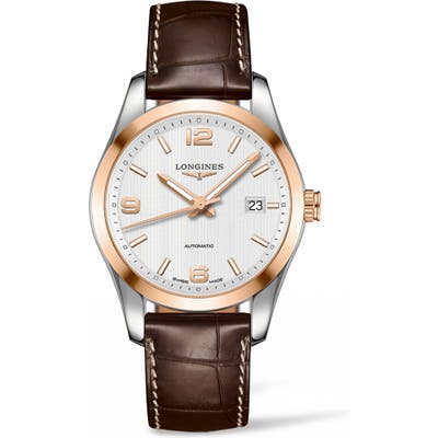 Longines Conquest Classic Automatic Leather Strap Watch, 40Mm