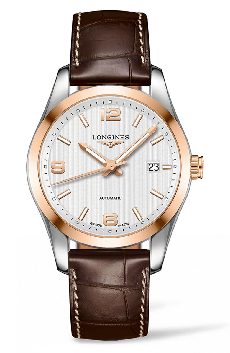 LONGINES Conquest Classic Automatic Leather Strap Watch, 40mm, Main, color, BROWN/ SILVER/ GOLD