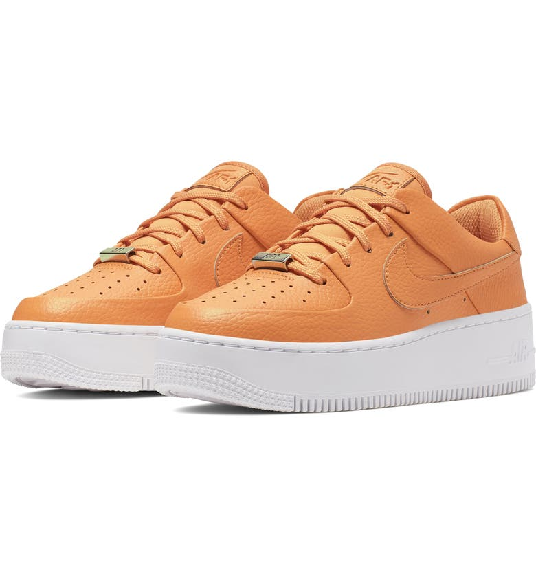 NIKE Air Force 1 Sage Low Platform Sneaker, Main, color, COPPER MOON/ WHITE/ STARFISH