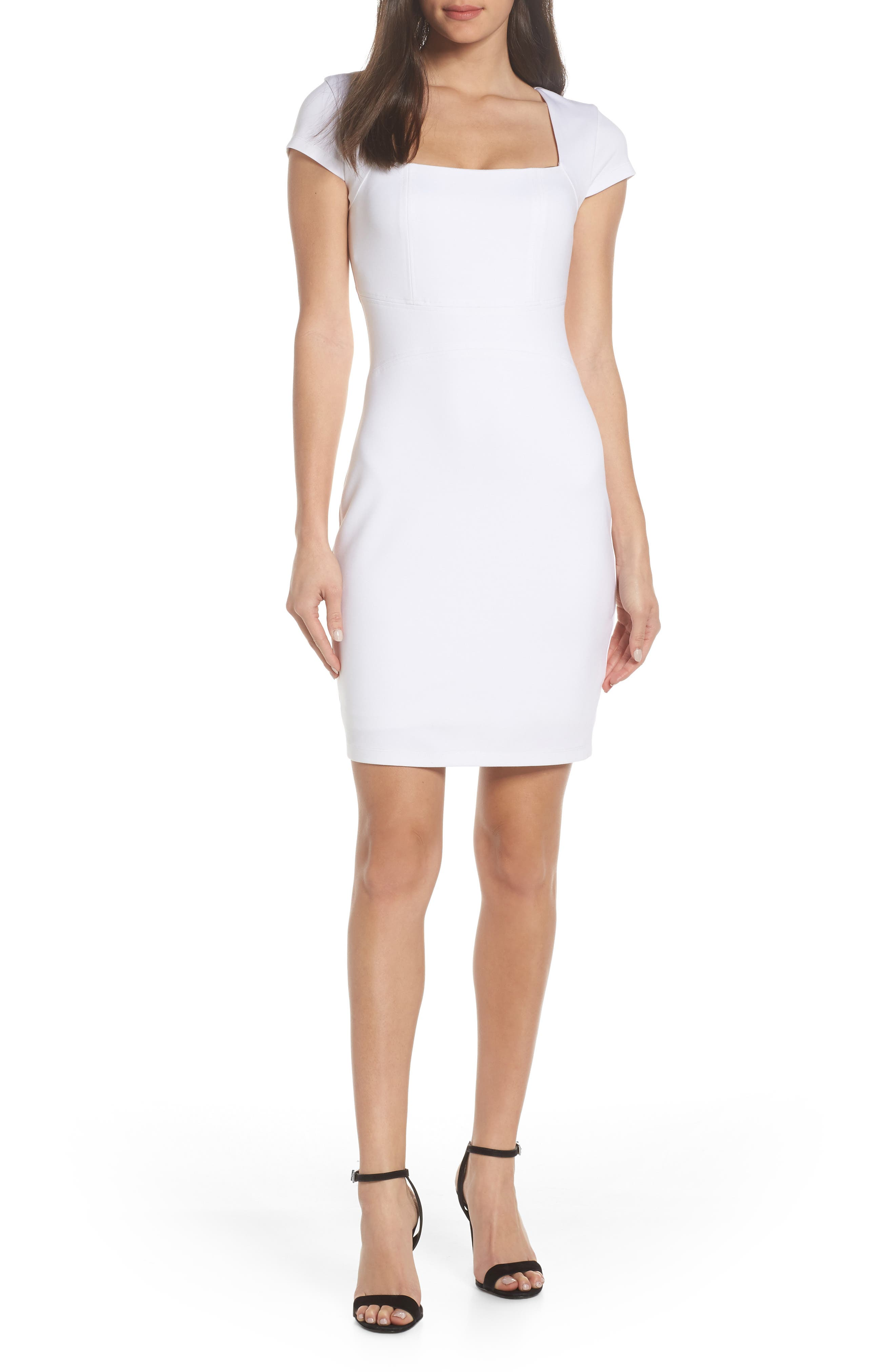 Olive Street Body-Con Dress, Main, color, WHITE