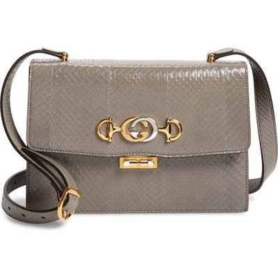 Gucci Smallgenuine Snakeskin Shoulder Bag - Grey
