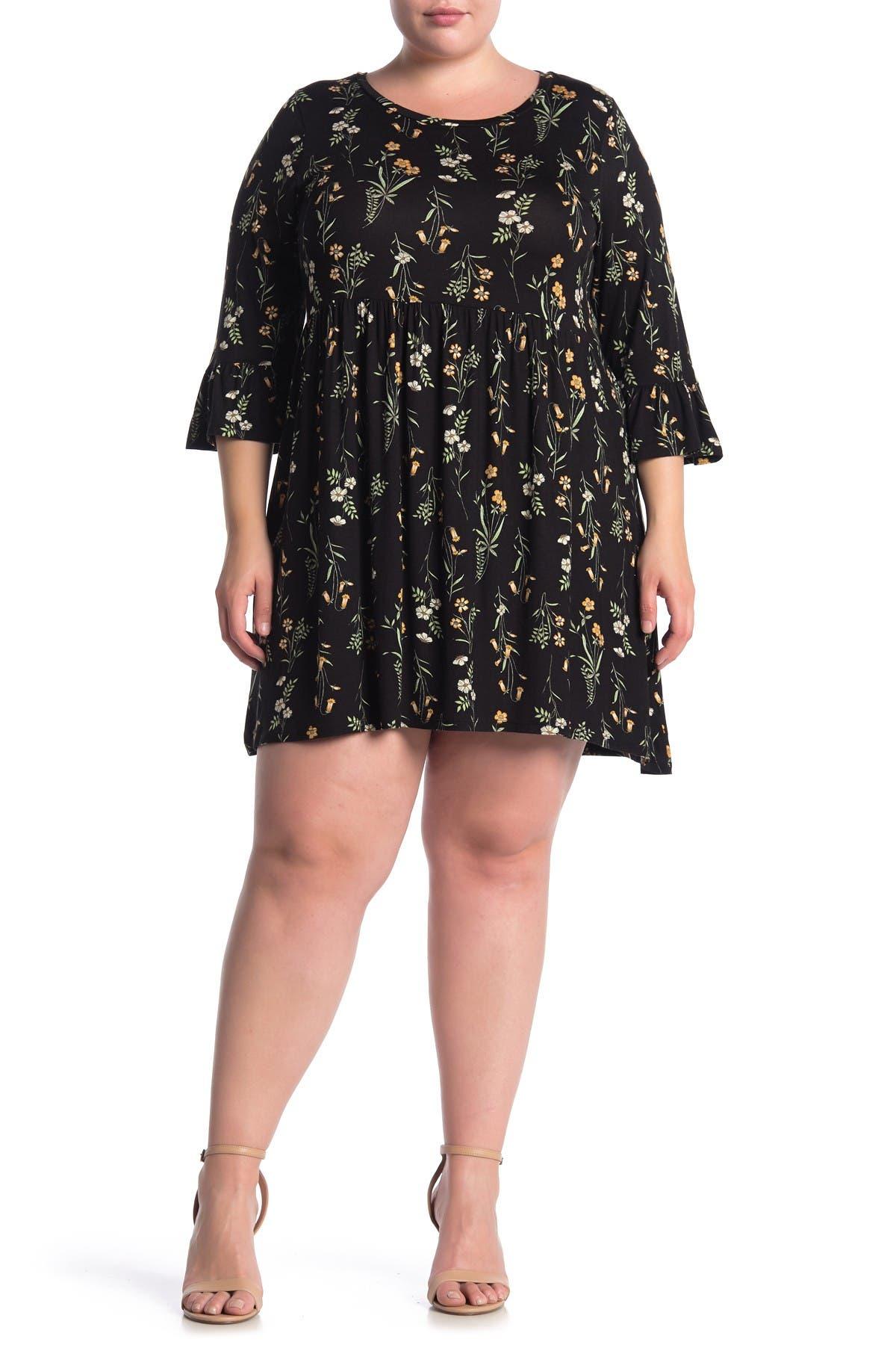 Image of Bobeau Floral Print Ruffle Sleeve Babydoll Dress