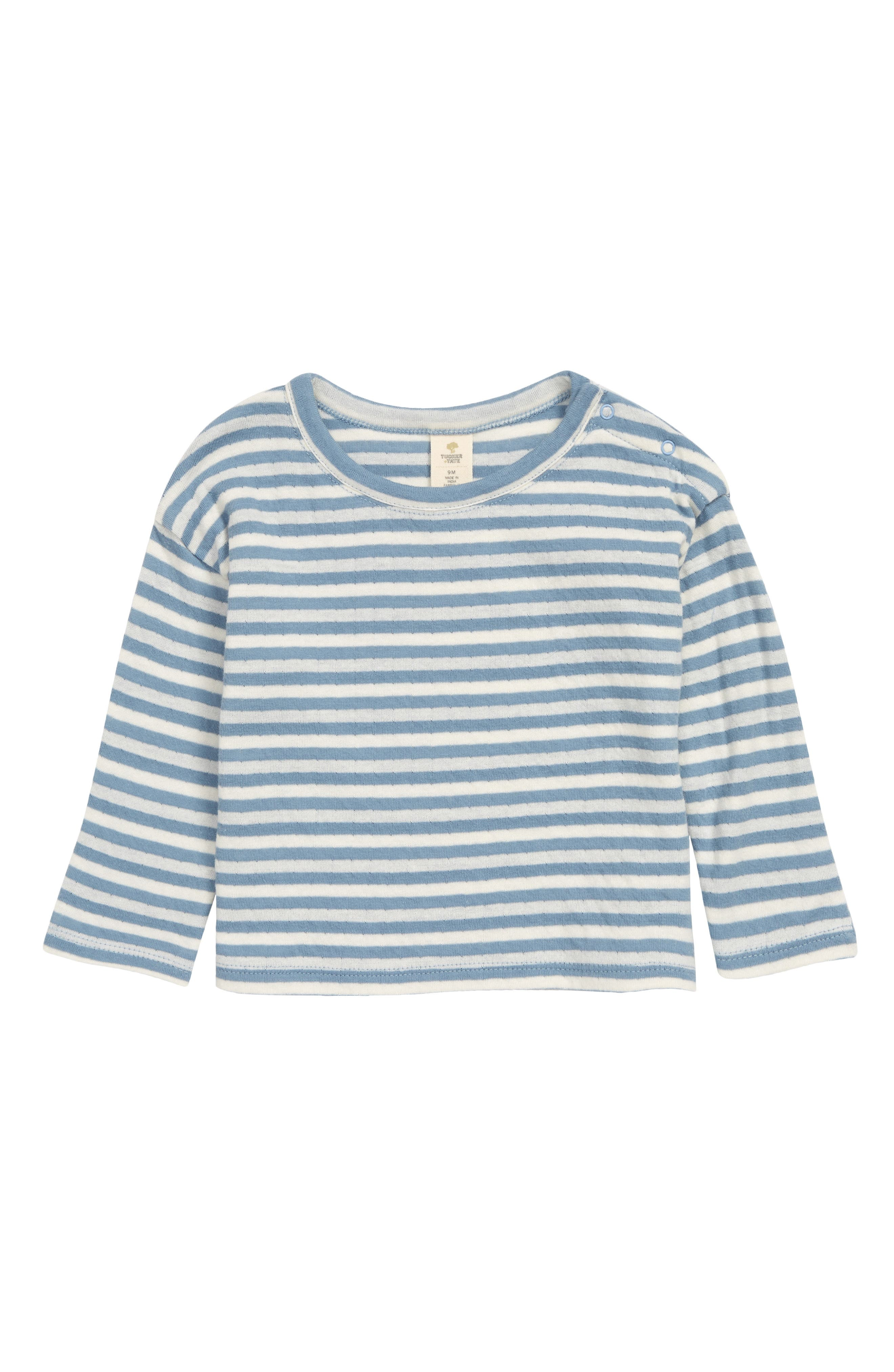 This striped cotton T-shirt features snaps at the shoulder so you can get your little one ready in, well, a snap! Style Name: Tucker + Tate Play Stripe Long Sleeve T-Shirt (Baby). Style Number: 6011229. Available in stores.