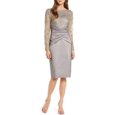 Tadashi Shoji Long Sleeve Embroidered Taffeta Sheath Dress, Grey