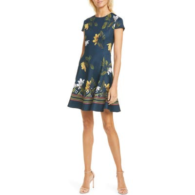 Ted Baker London Gallah Savanna Skater Dress, (fits like 14 US) - Blue