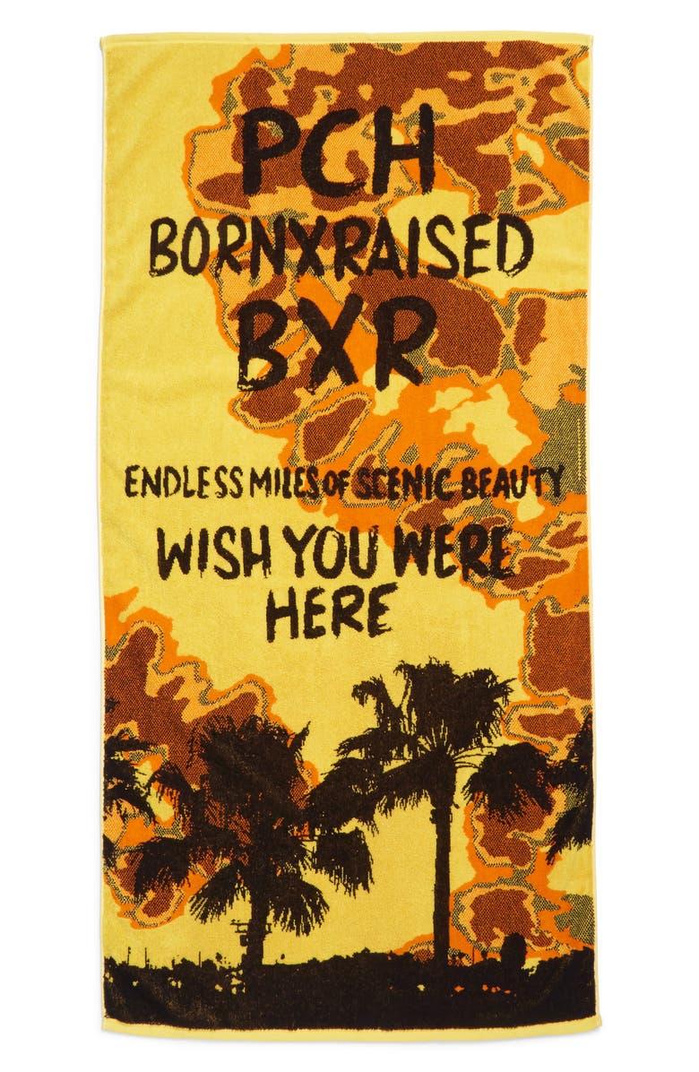 BORN X RAISED Wish You Were Here Beach Towel, Main, color, TIE DYE