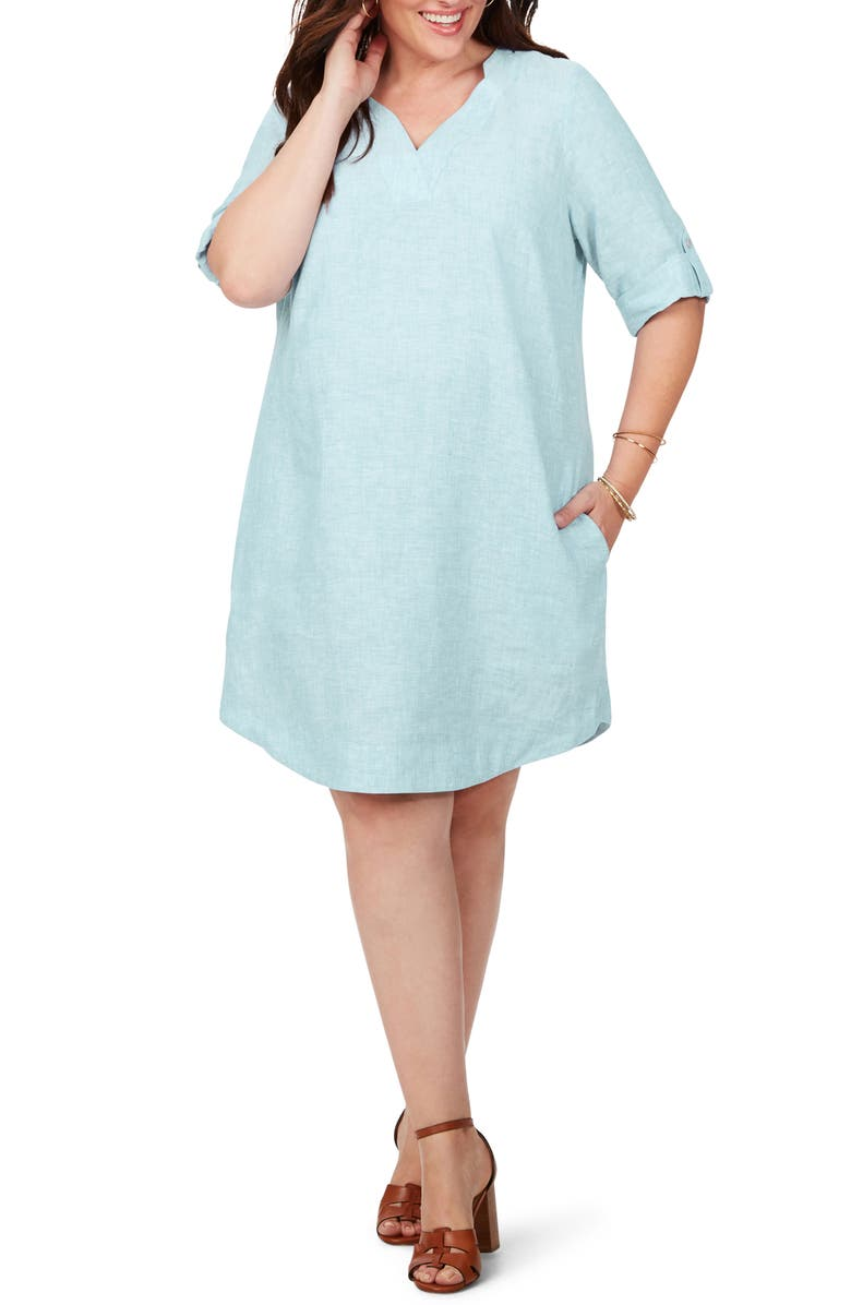 FOXCROFT Harmony in Linen Shirtdress, Main, color, ISLAND SKY