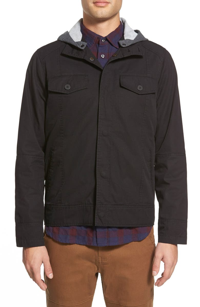 KANE & UNKE Twill Jacket with Removable Hood, Main, color, 001