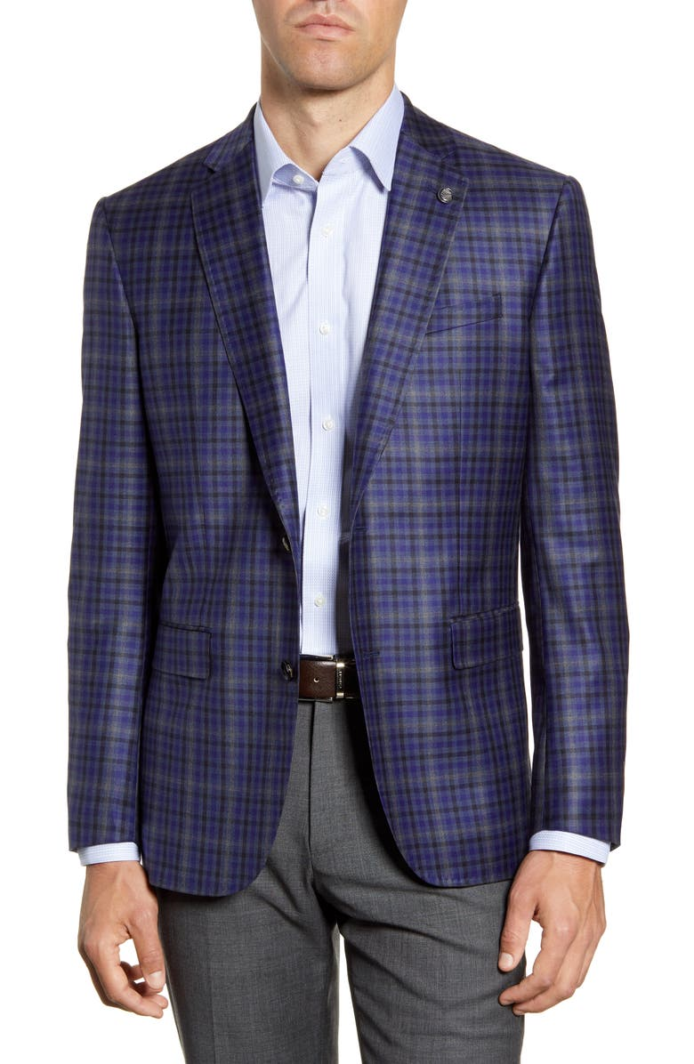 TED BAKER LONDON Jay Trim Fit Plaid Wool Sport Coat, Main, color, 400