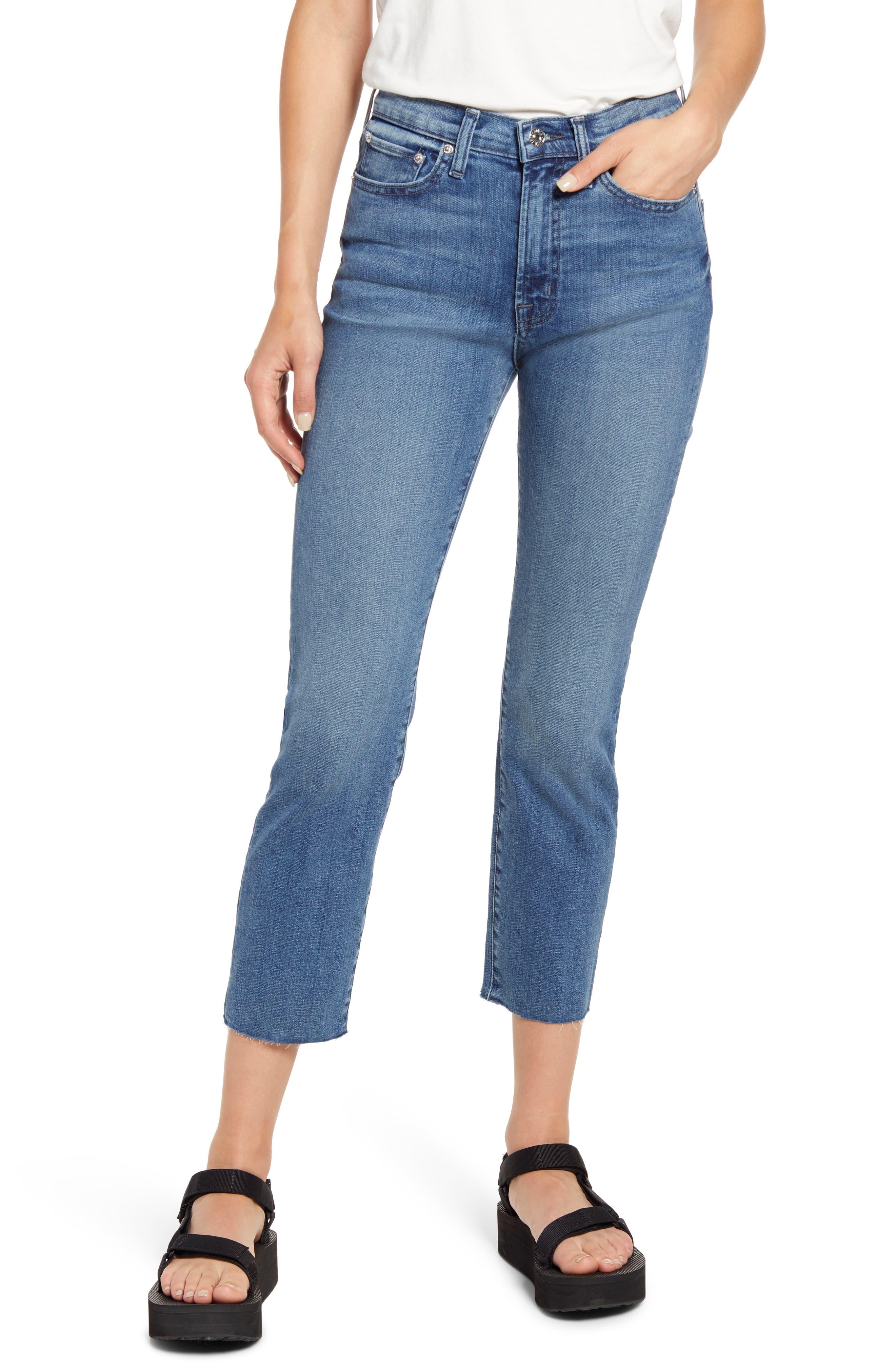 Bree High Waist Raw Hem Ankle Straight Leg Jeans