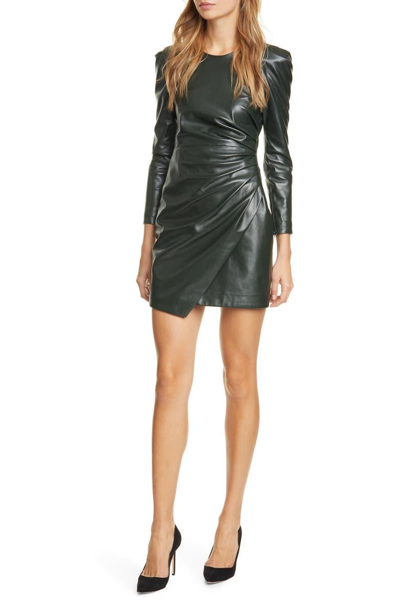 A.L.C. Lana Long Sleeve Leather Minidress, Main, color, EVERGREEN