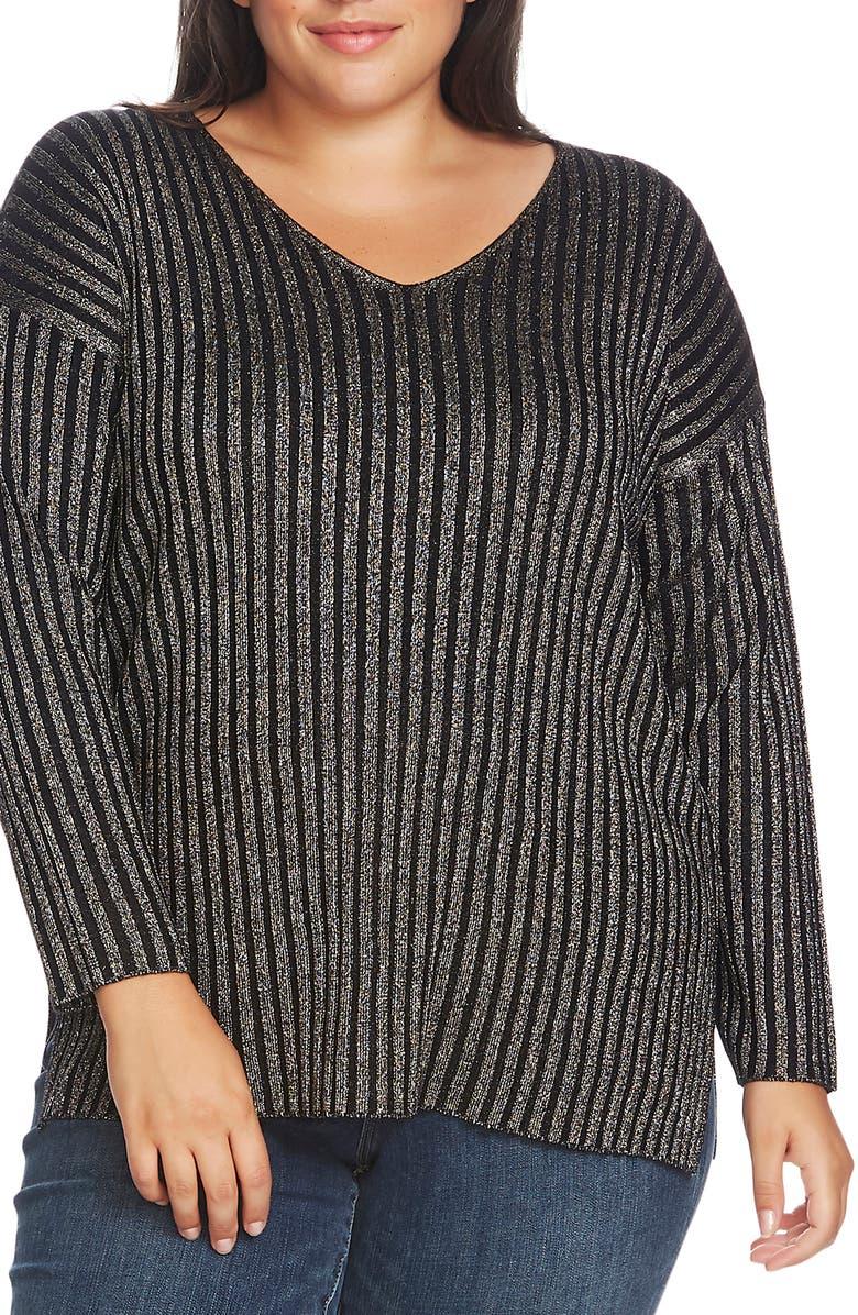 VINCE CAMUTO Metallic Stripe Ribbed V-Neck Sweater, Main, color, RICH BLACK