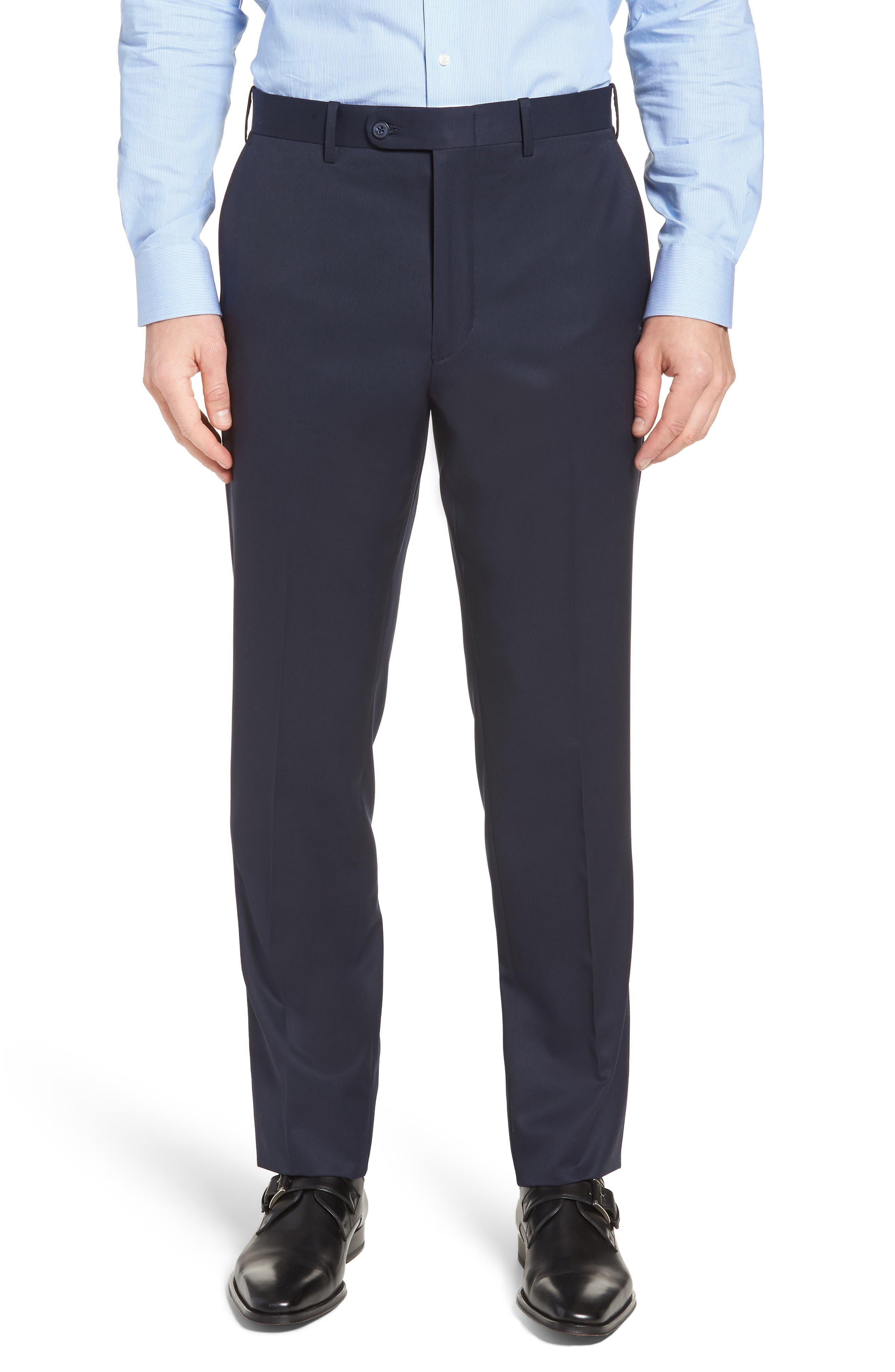 Men's John W. Nordstrom Torino Classic Fit Flat Front Solid Dress Pants