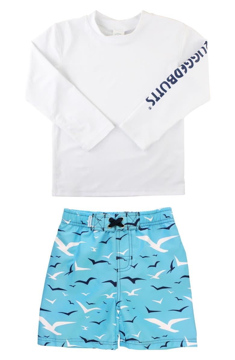 RUGGEDBUTTS Seagull Two-Piece Rashguard Swimsuit, Main, color, WHITE