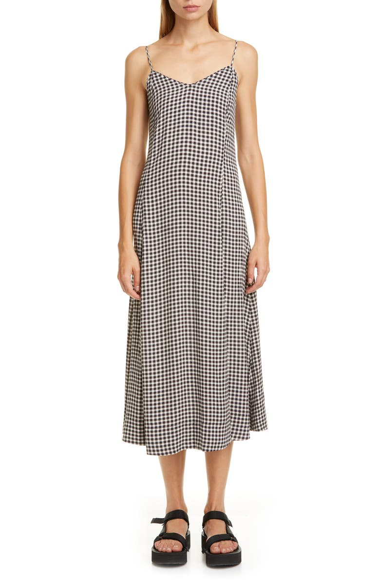 GANNI Gingham Print Crepe Midi Slipdress, Main, color, 001