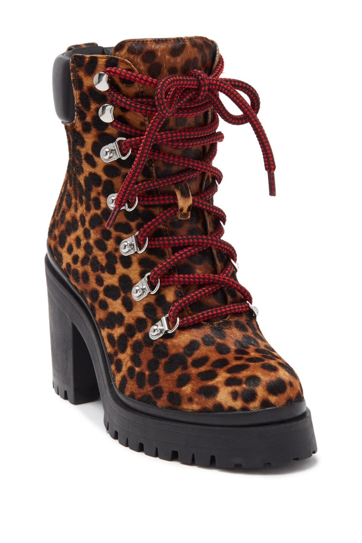 Image of Rebecca Minkoff Maihlo Leopard Printed Genuine Calf Hair Combat Boot