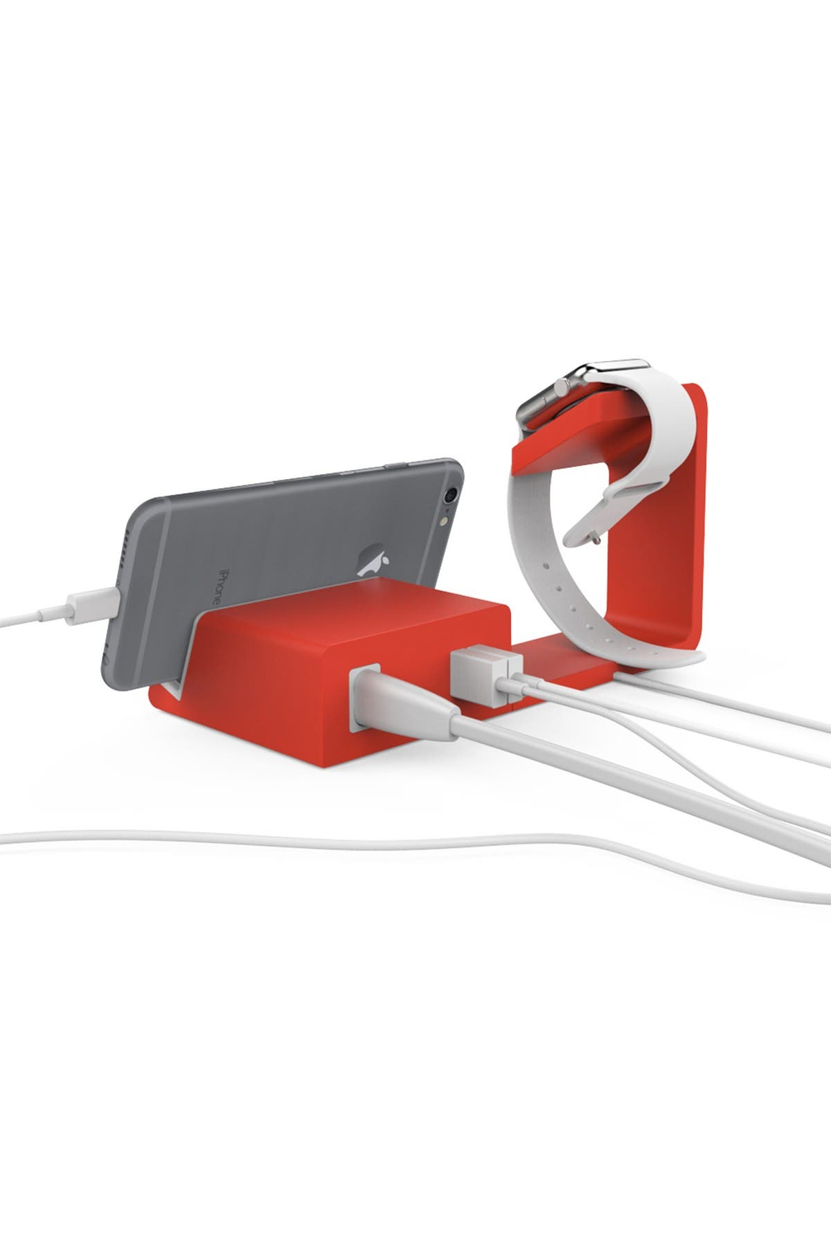 Image of POSH TECH Red 2-in-1 Apple Watch & iPhone Charging Stand