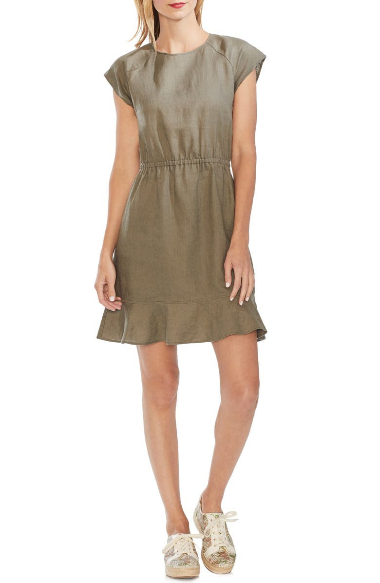 Vince Camuto Extended Shoulder Linen Dress