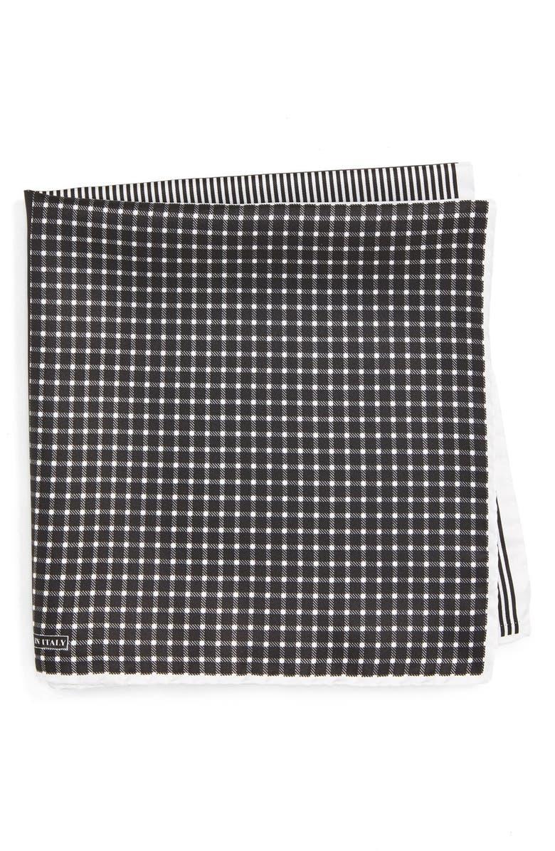 NORDSTROM MEN'S SHOP Panel Silk Pocket Square, Main, color, BLACK