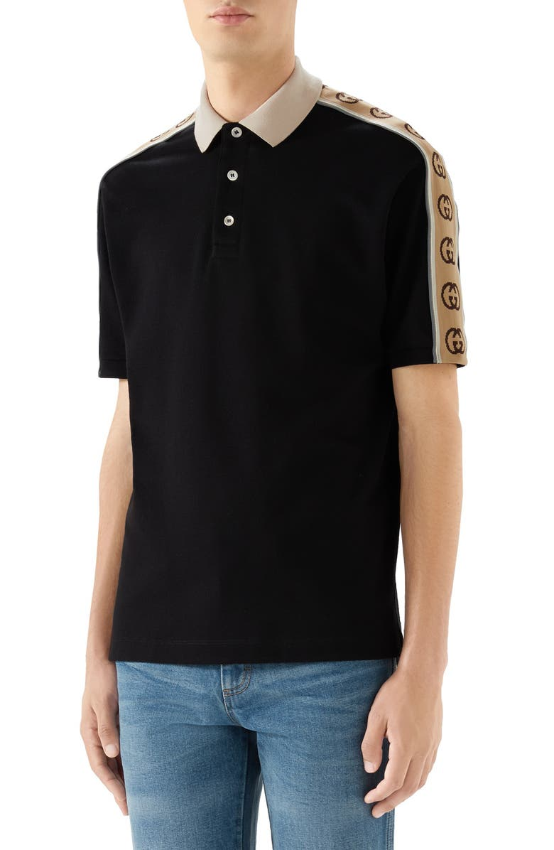 GUCCI Interlocking G Stripe Piqué Polo, Main, color, BLACK