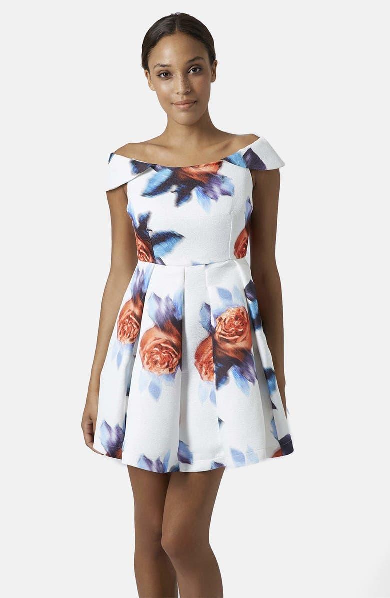 TOPSHOP White Floral Dress, Main, color, WHITE