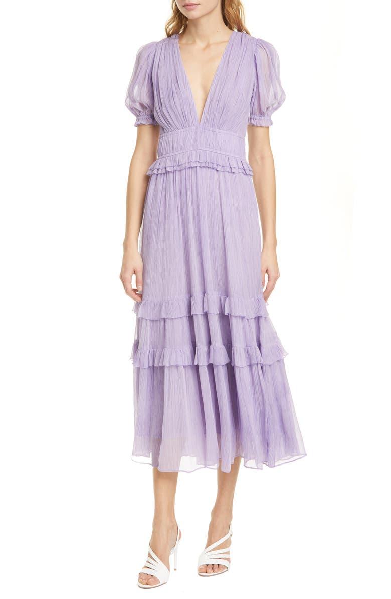 ULLA JOHNSON Elodie Pleated Silk Midi Dress, Main, color, LAVENDER